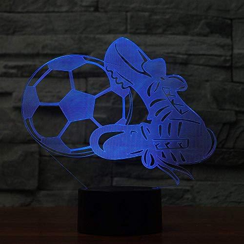 3D Phantomlicht, Farbe 7, den Fußball und Schuhe Lichter Novetly Led Atmosphäre Fußball Leben Schreibtischlampe Kind-Geschenk-Ausgangsdekor Schlaf Nacht LED Kindernachtlicht
