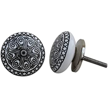 Artncraft 12 Knobs White /& Grey Hand Painted Ceramic Knobs Cabinet Drawer Pull