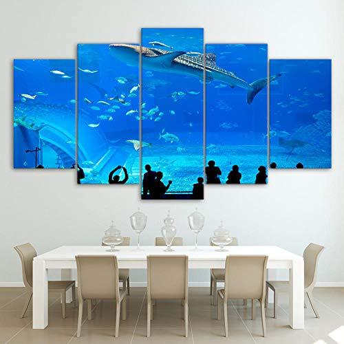 ZAQWSXCDE woning decoratie kunstdruk woonkamer afbeelding kunstdruk op canvas muurkunst afbeeldingen modulaire poster canvas blauw aquarium vis groep wooncultuur moderne Hd-gedrukte schilderijen (zonder lijst)