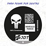 CUAC REVOLUTION Vinilo Adhesivo Pegatina Sticker Distintivo Ambiental Coche VEHICULO TOXICO JDT para Pegar por Dentro