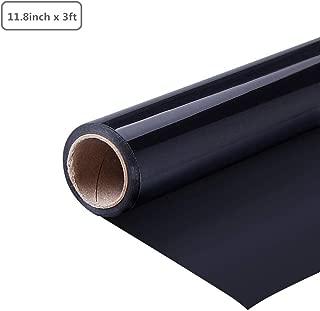 DEDC 1 Rollo Vinilo de Transferencia de Calor de PVC para DIY Bricolaje Diseño Imprimir Patrones de Camisetas Sombreros Mochilas Ropa 11.8 pulgadas x 3 pies (Negro)