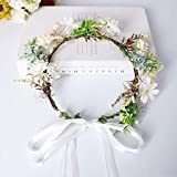 Diadema de flores,Diseño de flores y corona de flores, corona de flores corona floral para el día de la madre, boda, fiesta, playa