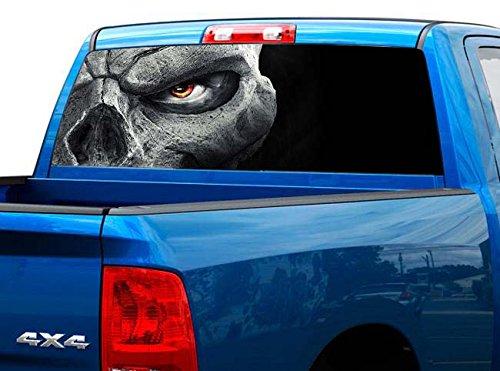 P450 Skull Tint Rear Window Decal Wrap Graphic Perforated See Through Universal Size 65' x 17' FITS: Pickup Trucks F150 F250 Silverado Sierra Ram Tundra Ranger Colorado Tacoma 1500 2500