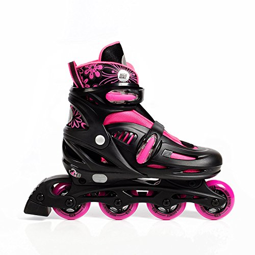 High Bounce Adjustable Inline Skate (Pink, Large (6-9) ABEC 7)