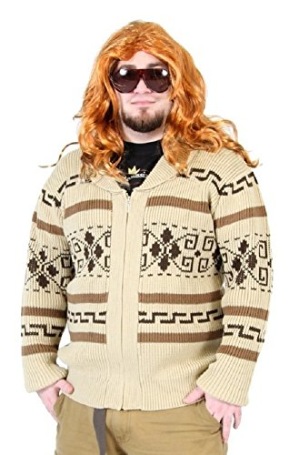 The Big Lebowski Jeffrey The Dude Zip Up Costume Cardigan Sweater (Adult Medium) Tan