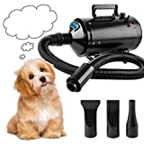 Soffiatore Per Cani Pet Dryer Grooming Cane Animali Domestici Capelli Pet Dog Cat Grooming Asciugacapelli Soffiatore Aria Calda per Cani 2400W Nero