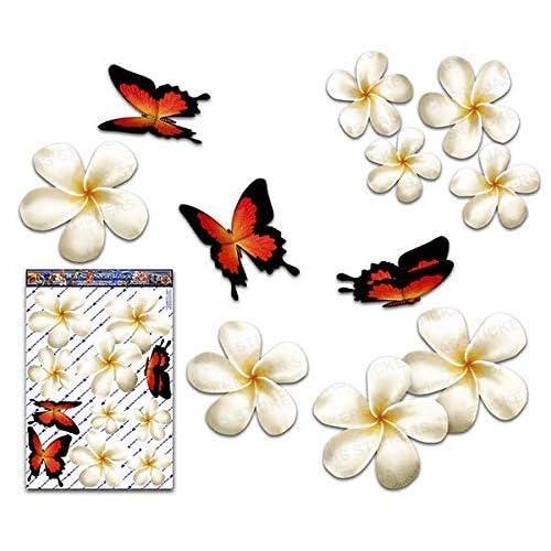 Fiore frangipani plumeria bianca doppio + farfalla grande adesivi auto autoadesivi - ST00024WT_LGE - JAS Stickers