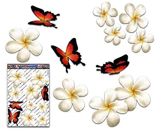 JAS Stickers® Frangipani Blume Schmetterling Auto Aufkleber - Weiß - Plumeria Tier Tropisch Große Vinyl Aufkleber Pack Für Laptop Gepäck Fahrrad Wohnwagen Van Wohnmobile LKW & Boote - ST00024WT_LGE