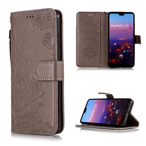 XYL-Q Flip phone case Copertura protettiva della cassa d'epoca in rilievo floreale del fiore del merletto modellano la cassa del cuoio di vibrazione orizzontale for Huawei P20, con la fessura for cart