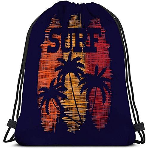 Gym Trekkoord Tassen Sackpack Surf Typografie Poster Concept Vintage Stijl Print Productie Sjabloon Postkaart Banner Flyer