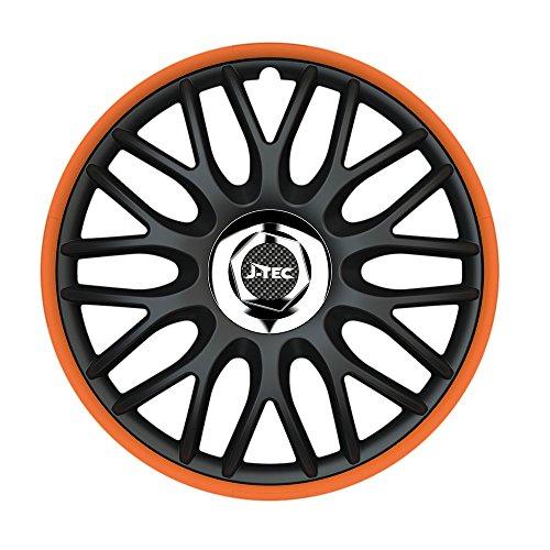 CM DESIGN 13 inch wieldoppen Orden ORANJE (R) (zwart en buitenring oranje). Wieldoppen geschikt voor bijna alle VW Volkswagen zoals Polo 6R!