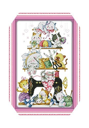 Kit de punto de cruz |El gatito al lado de la máquina de coser (2) Kit de punto de cruz Imprimir lienzo Coser Costuras cruzadas Bordado Costura hecha a mano DIY-14ct Imprimir lienzo-