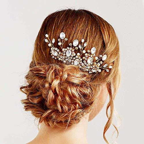 Simsly - Pettinino decorativo nuziale per capelli, decorato a motivo floreale con strass, perle e cristalli, accessorio per spose e damigelle (argento)
