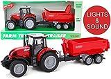 Toyland® 38cm Roter Traktor & Kippanhänger Mit Licht & Ton - Farmspielzeug