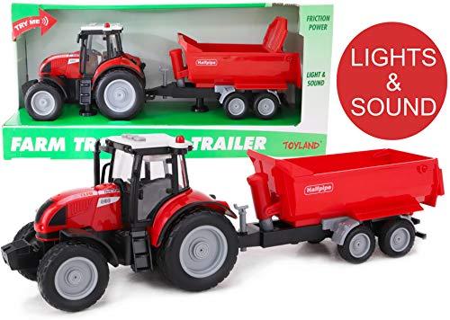 Toyland® 37cm Rode Tractor en Aanhanger met Licht en Geluid - Kinderboerderij Speelgoed (Tractor en Rode Aanhanger)