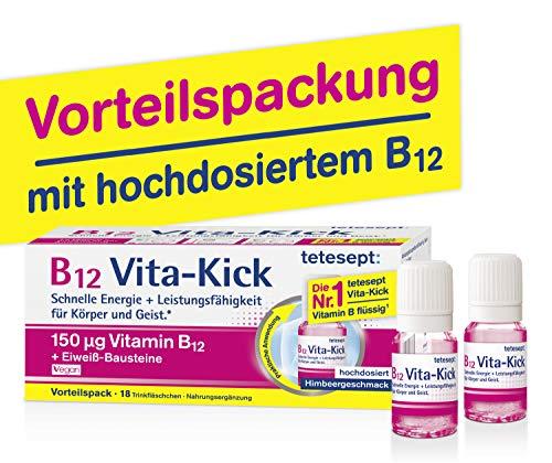 tetesept B12 Vita-Kick Trinkampullen – Ergänzungsmittel mit hochdosiertem Vitamin B12 & Eiweißbausteinen - Himbeergeschmack – 1 Packung à 18 Trinkfläschchen [Nahrungsergänzungsmittel]