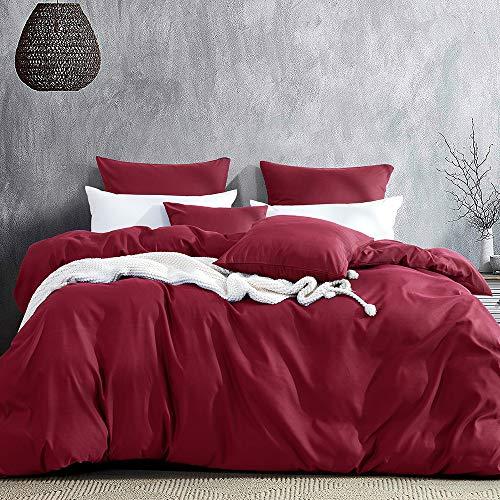 Aisbo Juego de ropa de cama de 220 x 240 cm, 4 piezas, microfibra supersuave, 1 funda nórdica de 220 x 240 cm con cierre de cremallera y 2 fundas de almohada de 80 x 80 cm, para invierno