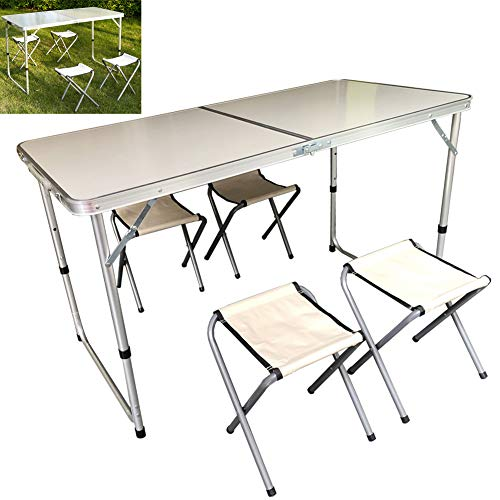 Folding Buffet Table Plastic 47 x 24 Inches Folding Table Beer Table Suitcase Table Dining Table Folding Garden Table Balcony Table Camping Table Party Table for Garden Patio and Balcony Foldable