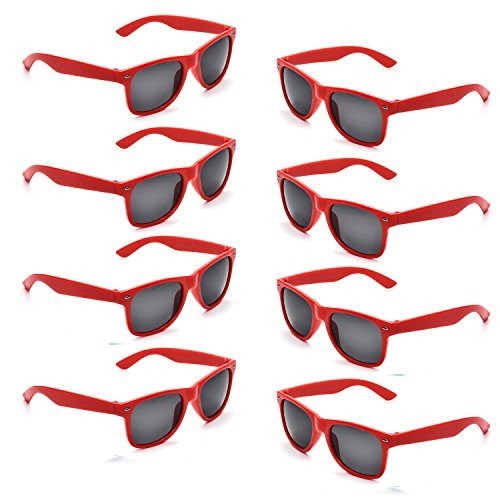 Neon Colors Party Favor Supplies Unisex Sunglasses Pack of 8 (Red)