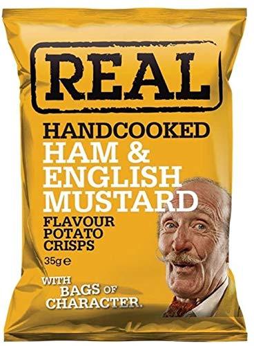 Real Handcooked Ham & English Mustard Flavour Potato Crisps 50 g - 18 Count
