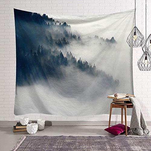 Misty Forest Tapestry Wall Mount Black and White Blanket City Fog Landscape Mural Room Tapestry Background Cloth A4 130x150cm