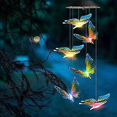 KizmetKare Solar Wind Chime Light - Color Changing Butterfly Solar Wind Chimes Outdoor Decoration Lights with IP65 Waterproof LED Wind Chime Solar Light for Garden, Patio, Holiday Deco Gift