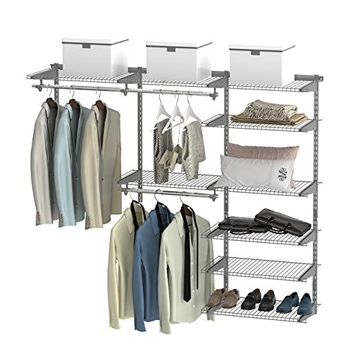 COSTWAY Offener Kleiderschrank, Wandgarderobe Kleiderregal Wandgarderobe mit Drahtregalen und Kleiderstangen, Kleiderregal erweitbar von 120cm bis 180cm, Flexibles Regalsystem