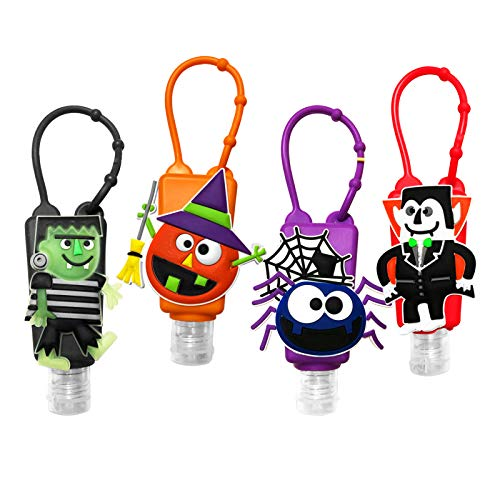 Travel Sanitizer Holder Keychain with Empty Bottle for Kids, 30ml/1oz Silicone Squeeze Portable Refillable Reusable Bottles,Hosgin Mini Sanitizer or Lotion Holder 4 PACK (Halloween)