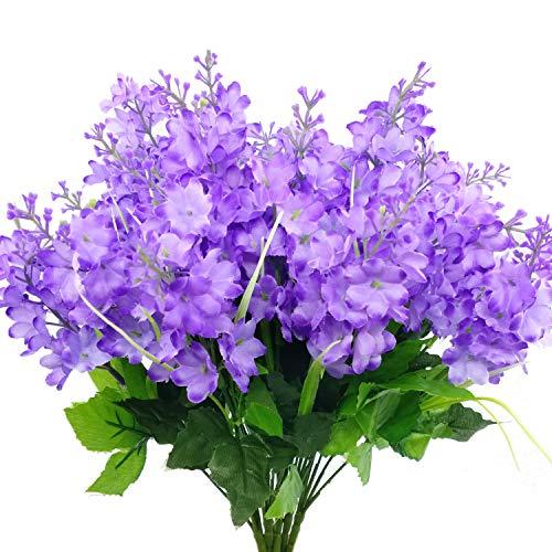 CORVYUC 6pcs Artificial Silk Flowers Fake Hyacinth Floral Plants Arrangements Outdoor Indoor Home Garden Hotel Wedding (Purple)