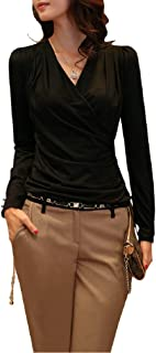 (ロンショップ)R.O.N shop 上品 Vネック カシュクール カットソー/長袖 ロングTシャツ 大きい おおきい サイズ