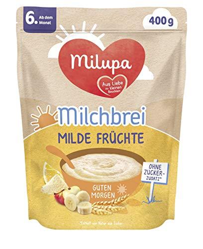 Milupa Milchbrei Milde Früchte, Babybrei ohne Zuckerzusatz, Babynahrung ab dem 6. Monat (4 x 400 g)