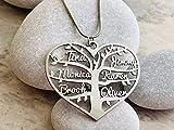 Personalisiert Herz mit Namen Lebensbaum Kette Geschenk für Damen Schmuck Charm Halsketten Anhänger Namenskette Halskette Stammbaum Herzanhänger Familienkette Kindernamen Wunschname Muttertagsgeschenk