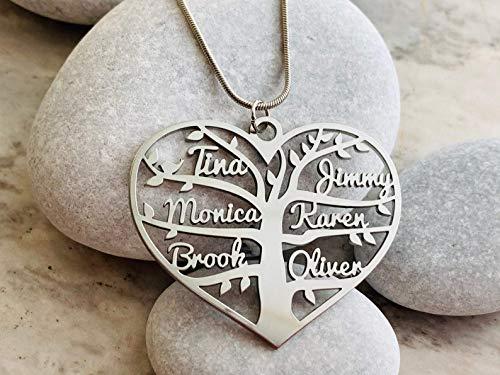 Personalisierte Herz mit Namen Lebensbaum Kette Geschenk für Damen Schmuck Charm Halsketten mit Anhänger Namenskette Halskette Stammbaum Herzanhänger Modeschmuck Familienkette Kindernamen Wunschname