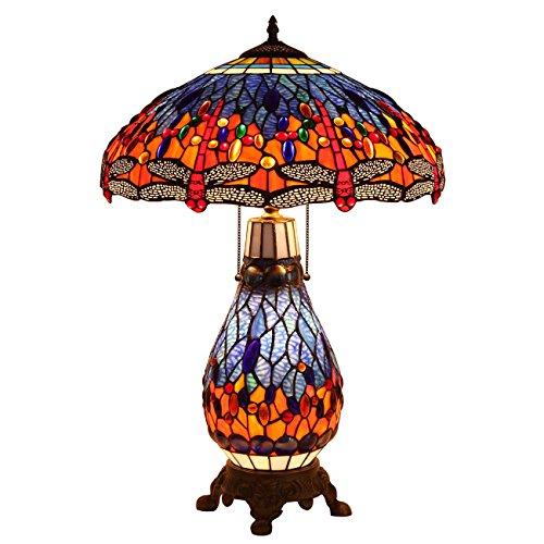 Bieye L30545 26 pulgada Libélula Lámpara de mesa del vitral del estilo de Tiffany