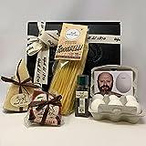novità 2021 kit confezione regalo carbonara tradizionale prodotti made in italy di alta qualità, pecorino romano dop, guanciale di norcia, sant'antonio, uova parisi