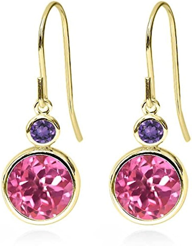 4.90 Ct Round Pink Mystic Topaz Purple Amethyst 14K Yellow gold Earrings