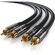 Primewire - Câble audio HQ stéréo RCA d' 1,5 m - Câble coaxial - 2 x cinch RCA mâle vers 2 x cinch RCA mâle entrée AUX - Connecteurs de précision - Pour amplificateurs, chaînes stéréo, système HiFi