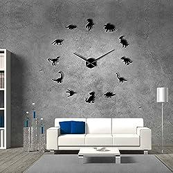 The Geeky Days Jurassic Dinosaurs Wall Art T-Rex DIY Large Wall Clock Kids Room Decoration Giant Frameless Wall Clock Dino Modern Clock Wall Watch (Black)