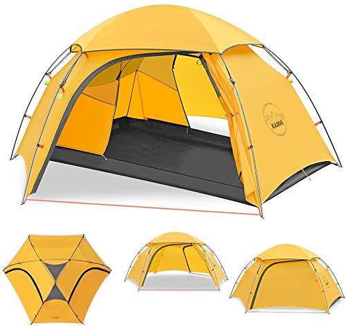 HSBAIS Cúpula Camping-Tiendas de campaña, 2 Tent Persona a Prueba de Viento de la Familia de Tiendas de campaña Impermeables portátiles para Senderismo,Yellow