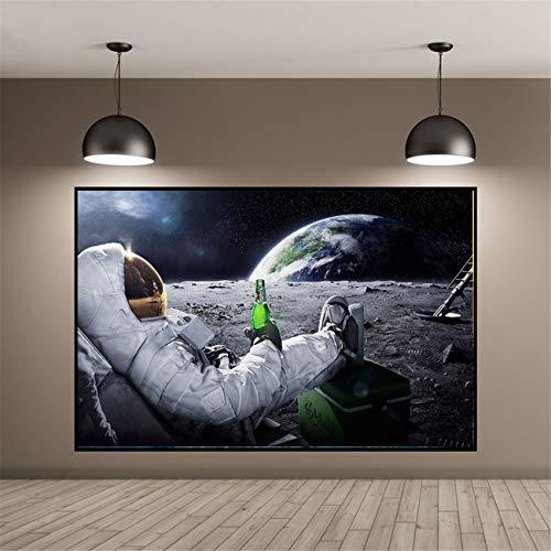 DOLUDO Wandkunst HD Gedruckt Leinwand Malerei Biere Weltraum Erde Astronaut Entspannende Mond Poster Wandbilder Für Zuhause Raumdekoration 30 x 50 cm (kein Rahmen)