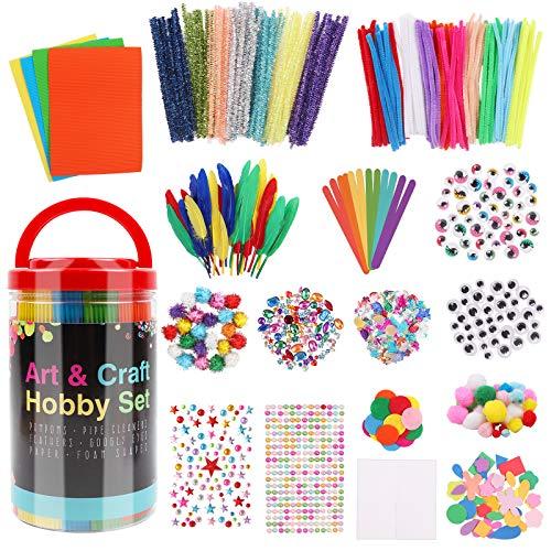 Hiveseen Manualidades para Niños, Art and Craft Set Incluye Pompones, Limpiadores de Pipa, Palitos de Helados, Pluma, Lentejuelas, Ojos Saltones