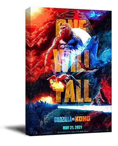 Trelemek Godzilla vs Kong - Lienzo decorativo para pared (5 x 7,6 cm), diseño de monstruos de madera