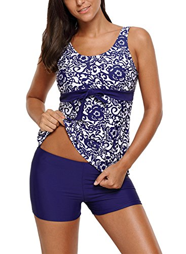 Aleumdr Womens Floral Printed Bowknot Embellished Tank Top Ties Tankini Swimsuit with Swim Shorts Sexy Tankinis Medium Size Blue