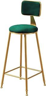 Taburetes de Bar Modernos con Respaldo y 4 Patas Dorado Ruedas l Elegantes sillas de Comedor de Terciopelo taburetes de Barra Altos Cocina, Altura del Asiento 65/75 cm, Verde