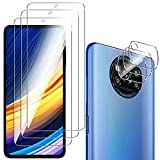 QULLOO Protector de Pantalla para Xiaomi Poco X3 Pro/Poco X3 NFC [3 Piezas] + Protector de Lente de Cámara [3 Piezas], 9H HD Alta Sensibilidad Cristal Templado para Xiaomi Poco X3 Pro/Poco X3 NFC