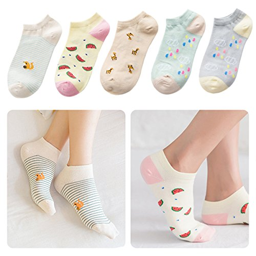 Lamdgbway 5 Pairs Fashion Women Socks Low Cut No Show Socks Cotton Ankle Sock Watermelon, One Size