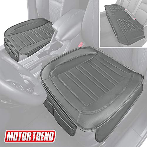 Motor Trend Gray Universal Car Seat Cushions, Full Set Front and Rear Bench – Padded Luxury Cover with Non-Slip Bottom & Storage Pockets, Faux Leather Cushion Cover for Car Truck Van and SUV
