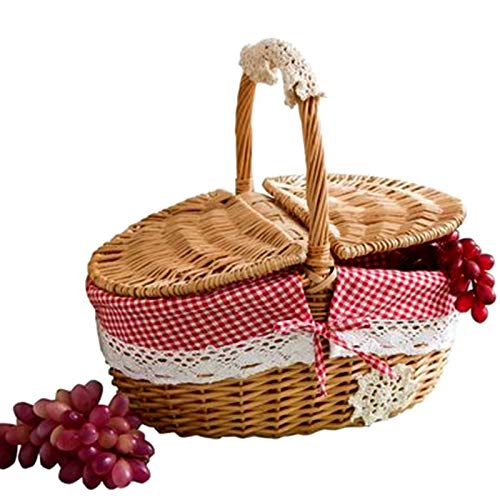 YDong Hand Made Wicker Basket Wicker Camping Picnic Basket Shopping Storage Hamper and Handle Wooden Color Wicker Picnic Basket