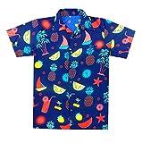 Virgin Crafts Uomo Exclusive hawaiane Maniche Corte Camicia BLU Shirt Casual per uomo