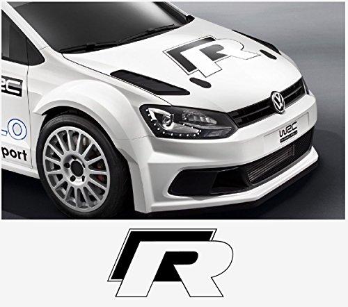 snstyling.com Aufkleber passend für VW Polo Golf R WRC Street Haubenaufkleber Aufkleber 50cm (Schwarz)